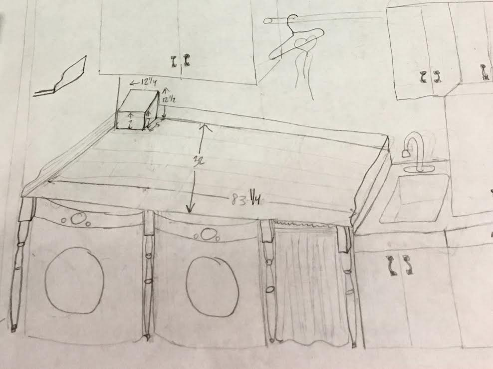 sketch of laundry after
