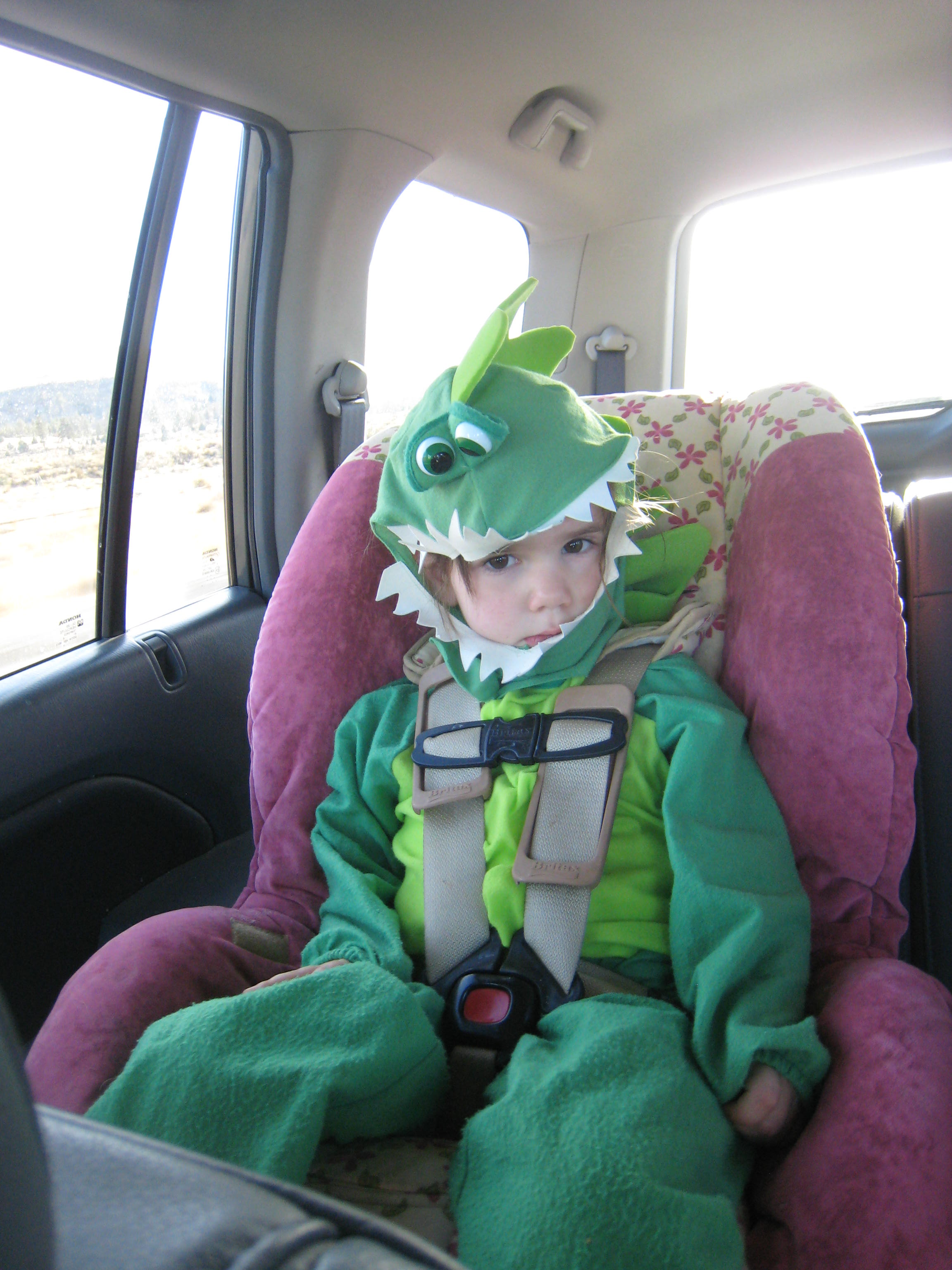 dragon costume in the car; podcasts article