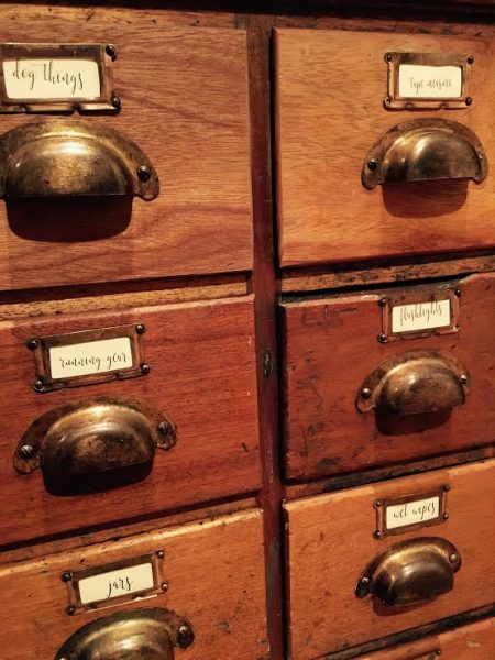 close up antique apothecary with labels