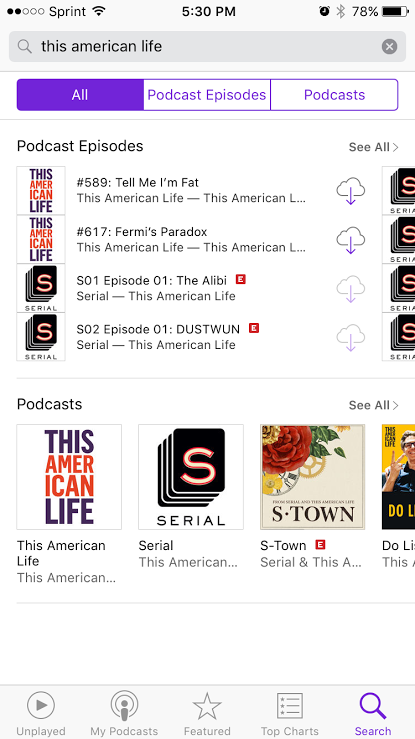iphone podcasts search results for this american life