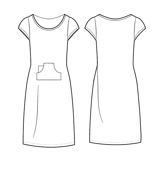 Short Sleeved Just-Above-Knee Length Dress